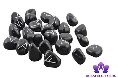 Blessfull Healing Conjunto de runa de piedras negras de turmalina negr