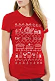 style3 Eat Drink Repeat Pull de Noël T-Shirt Femme Manger Boire Vacances x-mas Ugly Sweater, Couleur:Rouge, Taille:2XL