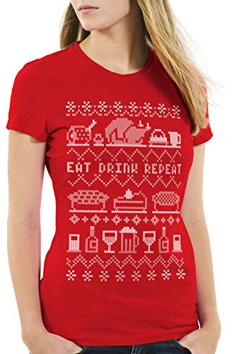 style3 Eat Drink Repeat Ugly Sweater Damen T-Shirt weihnachtsessen fressen Feiertage x-Mas Pulli, Farbe:Rot, Größe:2XL