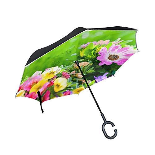 LZBDKM Omgekeerde paraplu met groen gras land en bloemen bedrukt creatieve moderne ondersteboven dubbele lagen omgekeerde paraplu's