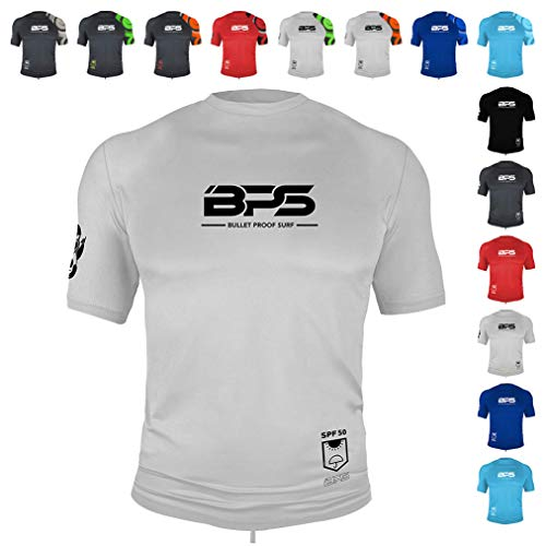 BPS Mens Short Sleeve Dri-Fit Rashguard with 50+ UPF Sun Protection for Outdoor, Water Sports, Surfing, and Swimming Activities (White, L)