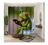 Daesar Toiletten Teppich 40x60 Frosch Duschvorhang Vintage 90x180 cm, Badezimmerteppich Set 2 Teilig