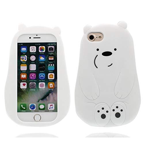 Cacasa para iPhone 6s, Caucho de silicona a prueba de choques flexible y suave TPU Niña case iPhone 6, ultra delgado Funda Para iPhone 6/6S 4.7' - Dibujos animados en 3D blanco oso Bear
