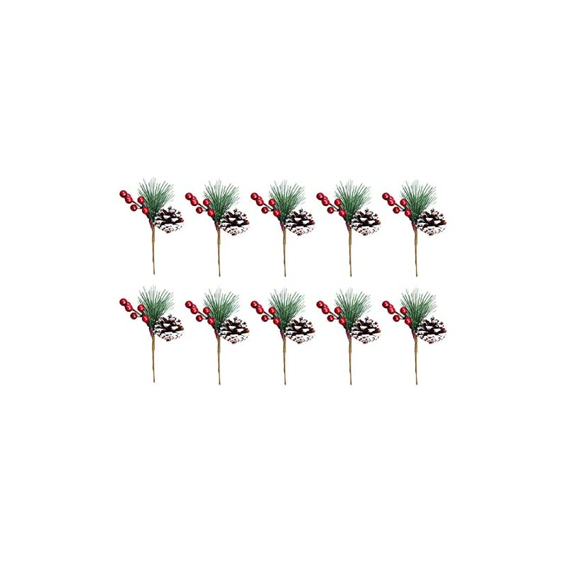 silk flower arrangements 10pcs pine snowy flower picks,snow flocked holly christmas red berry pinecone ball stem,faux berry spray sprigs twigs,artificial fruit plant flower for christmas tree,holiday,home decor-7in
