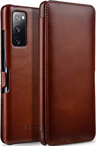 StilGut Book Hülle kompatibel mit Samsung Galaxy S20 FE Hülle aus Leder mit Clip-Verschluss, Lederhülle, Klapphülle, Handyhülle - Cognac Antik
