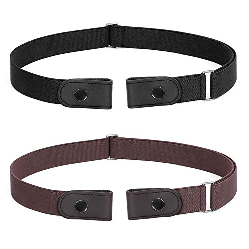 No Buckle Belt For Women Men Buckle Free Belt Plus Size for Jeans Pants 2 Pack , Black+Coffee, Pants Size 34-48 Inches
