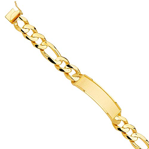 14k Yellow Gold Solid Link ID Bracelet Jewelry Gifts for Women