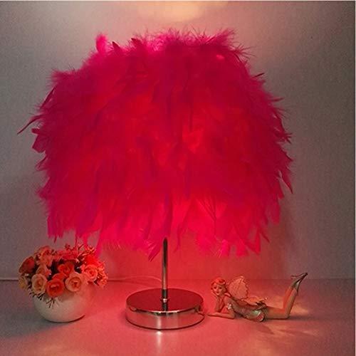 NanXi Federn Bedside-Lampen, Tischlampe Feder Tisch, Shade Elegant Feder Und Leichtmetallkörper, Fernschalter,Rouge,Petit