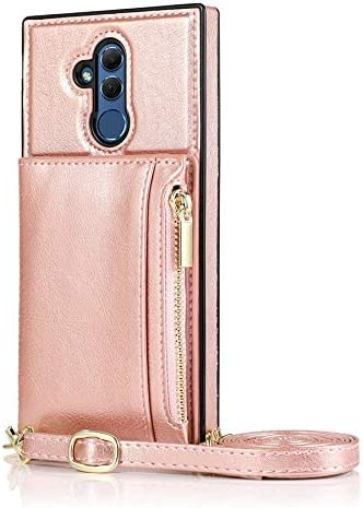 SLDiann Case for Huawei Mate 20 lite, Zipper Wallet Case with Credit Card Holder/Crossbody Long Lanyard, Shockproof Leather TPU Case Cover for Huawei Mate 20 lite (Color : Rosegold)
