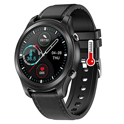 HQPCAHL Smartwatch Reloj Inteligente Mujer Hombre Modos Deportivos, Fitness Tracker con Temperatura Corporal Caloría Pulsómetros, Pulsera Actividad Impermeable IP68 para Android iOS,Negro