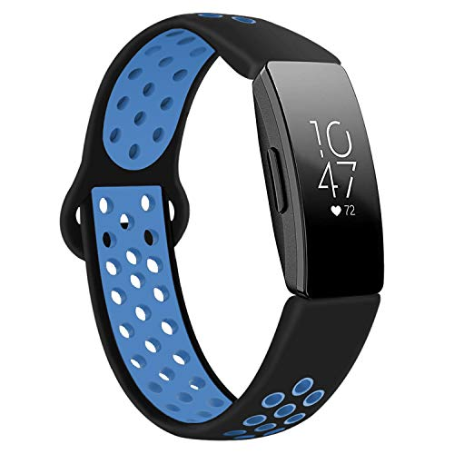 DYKEISS Compatible with Fitbit Inspire HR Fitness Tracker Sport Band, Soft Silicone Replacement Accessory Women Men Breathable Wristband Strap, Black/Blue, Large