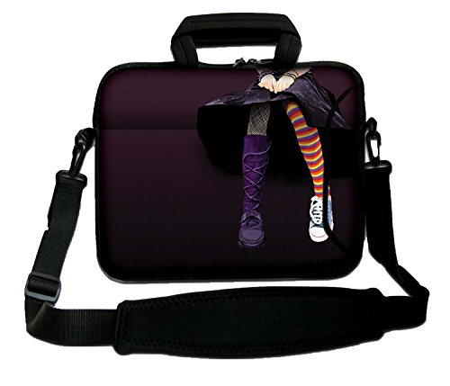 LUXBURG 12' Inch Luxury Design Laptop Notebook Sleeve Soft Case Bag With Handle and Shoulder Strap - Emo girl