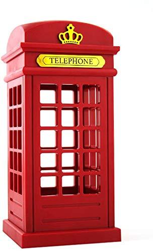 Lámpara de noche LED Keeda Vintage Londres con diseño de cabina telefónica de escritorio, lámpara de mesa LED regulable, control táctil, luz nocturna para niños, luz de ambiente