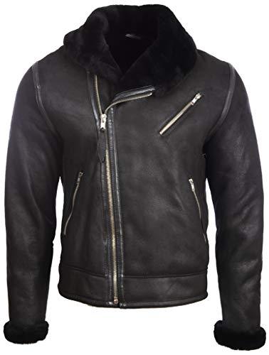 Aviatrix Herren Echtleder Shearling Fashion Jacke mit Schalkragen (OBRS)