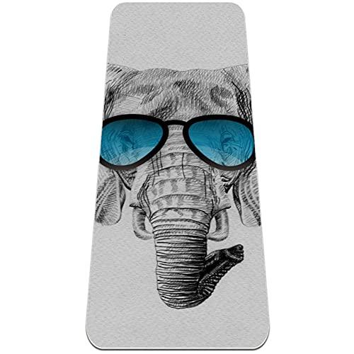 TONKOW África elefante gafas de sol Yoga Mat para mujeres y hombres, grueso TPE Esterilla de yoga 6 mm respetuoso con el medio ambiente, antideslizante, para yoga, pilates y ejercicios de piso