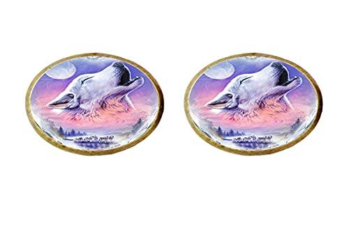 Nuevo Wolf Art Photo Pendientes de cristal Hombre Mujer Joyería como regalos