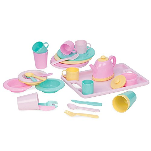 Play Circle by Battat  Dishes Wishes Dinnerware Set  Colorful Plates, Teapot, Cups, Spoons, Forks, Serving Tray, and More  Pretend Play Toy Kitchen Accessories for Kids Ages 3 and Up (34 Pieces)