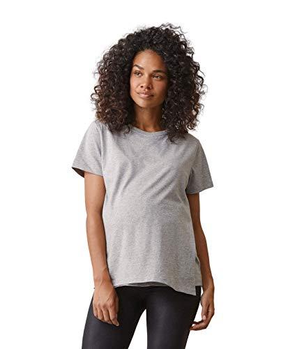 Boob The T-Shirt Premaman Maglietta Maniche Corte per Gravidanza e Allattamento Top maternità in Cotone Biologico (M, Grigio)
