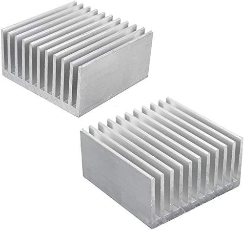 Kalolary Aluminium Dissipateur, Radiateur Chipset Dissipateur de Chaleur, Dissipateur Thermique, Ailette de Refroidissement Argent pour CPU LED Puissance Composant Actif 40 x 40 x 20 mm (2 Pièces)