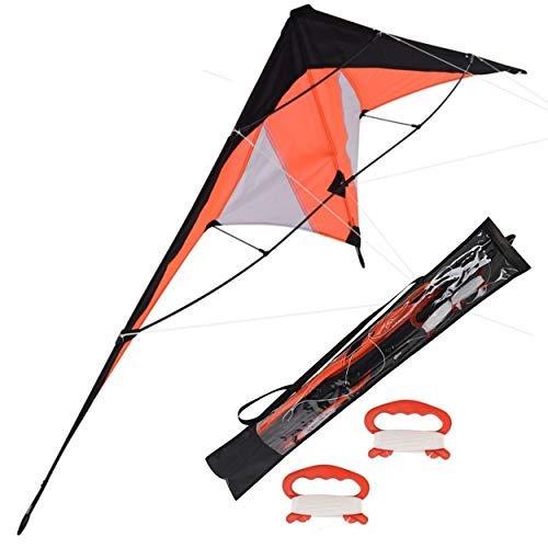 Oramics Drachen Lenkdrachen– 120 x 50 cm und 180 x 70 cm – Zweileiner Drache für Kinder ab 8 Jahren und Erwachsene – Flugdrachen für Groß und Klein (180 x 70 cm, Orange)