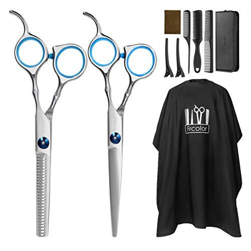 Frcolor - Juego de corte de pelo profesional, con tijeras para cortar el cabello, tijeras de entresacar, capa de peluquería, peine de cuchillas, clips