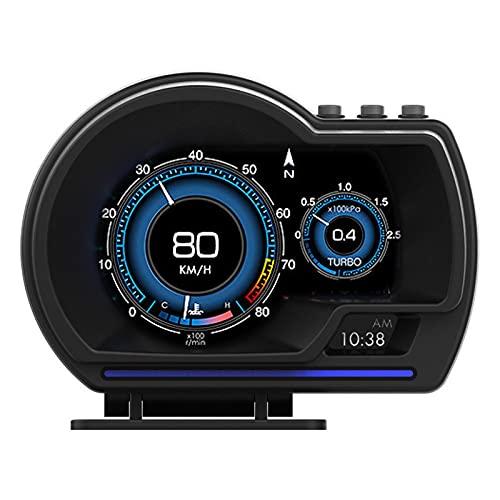 YUUGAA Indicador multifunción, Pantalla Frontal OBD2 + GPS, indicador Inteligente, velocímetro HUD para Coche, Alarma de RPM Turbo para Coche, camión