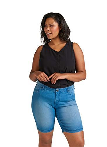 Zizzi Damen Shorts Große Größen Kurze Hose Regular Fit Casual Sommerhose 42-56, Blau, 48