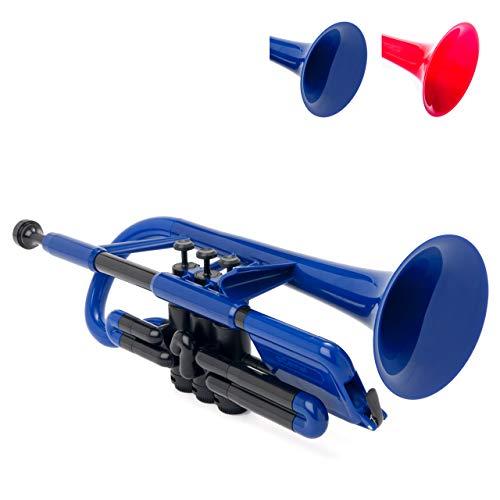 pInstrument pCornet Plastic Cornet - Mouthpieces and Carrying Bag - Lightweight, Versatile, Comfortable Ergonomic Grip - Bb Authentic Sound for Student & Beginner - Durable ABS Construction - Blue
