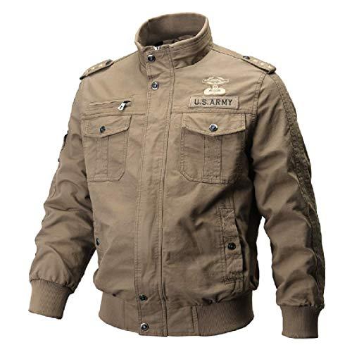 Ushpoy Men Lightweight Bomber Windbreaker Stand Collar Outwear Cotton Coat,Khaki,Medium