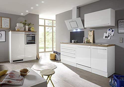 respekta Premium Küchenzeile Küchenblock Einbauküche weiß Hochlanz 320 cm