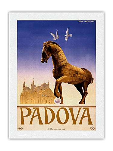 Póster vintage de Padua (61 x 81,3 cm), diseño de caballo troyano...
