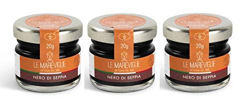 Encre de Seiche Le Mareviglie - 3 paquets de 20g - Fait à la main en Sardaigne, Italie