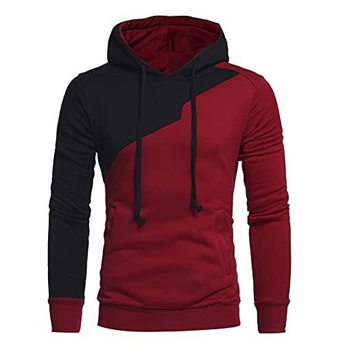 Chejarity Kapuzenpullover Herren Colorblock Hoodie Kapuzenjacke Slim Fit Moden Basic Sweatshirt Langarm Pullover-Shirt mit Kapuze Sportjacke Outdoorjacke mit Taschen