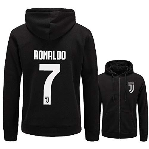 WYNBB Sweatshirt Kapuzenpulli C Ronaldo 7 CR7 Pullover Fleece Fußballverein Fan Hoody Geschenk für Fußballfans Liga Kapitän Herren Frühling Herbst,Black,L