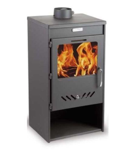 Estufa de leña/chimenea para calefacción directa KUPRO Elegance con tapa de acero