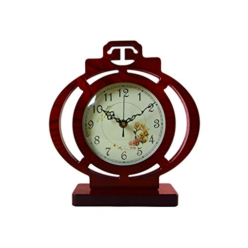 jinyi2016SHOP Table Clock Living Room Desk Clock/Old-fashioned Home/Desktop Clock/Silent Movement,Elegant And Generous,Study Room,Red Brown 10.2 Inches Desk Clock
