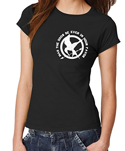 clothinx Damen T-Shirt Fit Spotttölpel May The Odds Be Ever In Your Favor Schwarz Gr. M