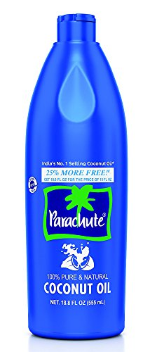 Parachute Coconut Oil 18.8 Fl.oz. (555ml) - 100% Pure & Natural Hair Oil, Unrefined, Expeller Pressed, Cooking Oil