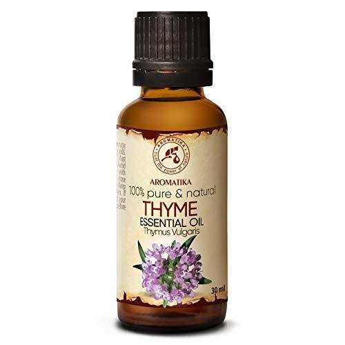 Aceite Esencial de Tomillo 30ml - Aceite de Timo Vulgaris - Austria - Aceite de Tomillo Natural se Utiliza en Baños Aromáticos - Saunas - Inhalaciones - Masajes - Cuidado del Cabello y la Piel