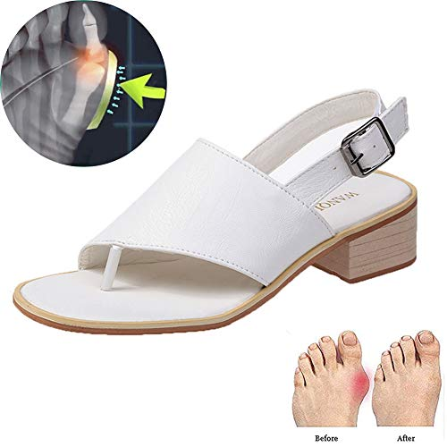 Romeinse Schoenen Voor Vrouwen Zomer Platte Flip-flop Sandalen Gesp Strand Schoenen Vrije Tijd Blok Hak Sandalen Zwart, Wit, Abrikoos 35-42,White,40