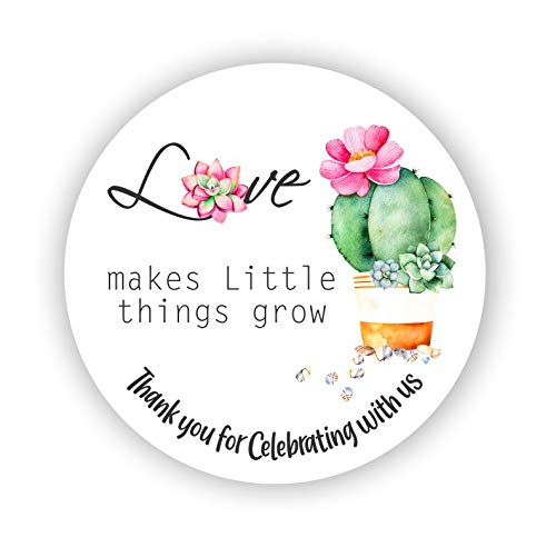 Opening large release sale Love Makes Little Things Grow Party Detroit Mall Favors Stickers Succulent -