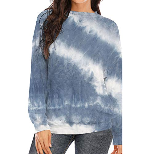 DOMBX Women's Long Sleeve Tie-dye T-Shirt Tunic Tops Blouse Womens Casual Fashion Tie Dye Stripe Patchwork Crew Neck Longsleeve Warm Cotton Linen Sweatshirt Pullover Jumper Cardigan for Autumn Winter