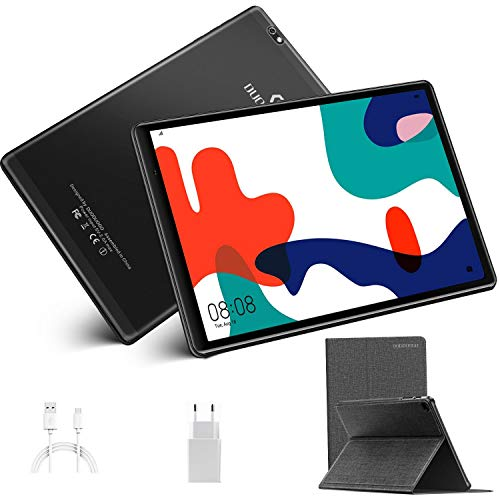 Tableta 10 Pulgadas, DUODUOGO Android 10.0 Tablets Certificado por Google GMS, Quad-Core 1.6 GHz, 4G LTE, WiFi, GPS, 4GB RAM y 64GB ROM (TF 128GB), Cámara 8MP+5MP, Tablets Baratas y Buenas -Negro