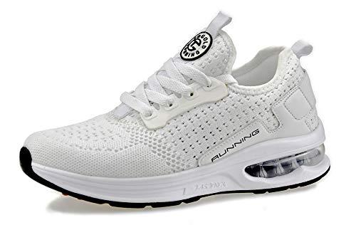 tqgold Sportschuhe Herren Damen Turnschuhe Laufschuhe Leichte Schuhe Sneakers(Weiß,Größe 39)