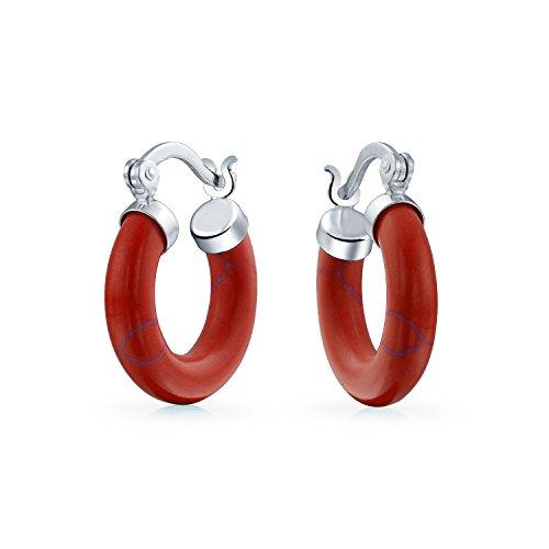 Kleine Rote Orange Synthetische Koralle Runde Tube Creolen Für Frauen 925 Sterling Silber