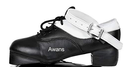 Irish Dancing Schuhe, laut, flexibel, weiches weißes Futter, Schwarz - schwarz / weiß - Größe: 38 EU