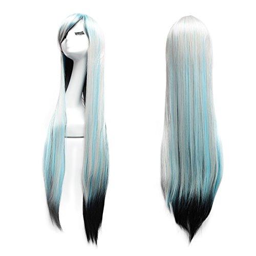 Damen Cosplay Perücke 100cm Glatte Cosplay Wig Langhaar Karneval Halloween Langhaarperücke mit freie Haarnetz (Mischfarbe von Schwarz blau und Grau)