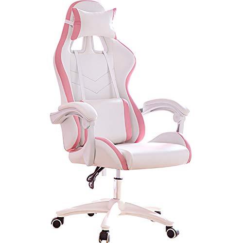CWW Gaming Stuhl Ergonomischer Bürostuhl Chefsessel Drehstuhl Büro Computerstuhl Höhenverstellbarer Schreibtischstuhl mit Lordosenstütze Kunstleder(Rosa)