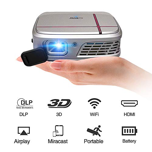 Mobile Wifi Projector DLP Mini Pocket 3D Home Theater Projector Wireless HDMI USB Support 1080P Airplay with Auto Keystone Rechargeable Battery Light Small for Indoor Outdoor Movie DVD Gaming TV Party