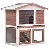 Festnight Jaula Conejera con 3 Puertas Madera Jaula para Animales Pequeños Jaula para Conejos o Casa para Animales Pequeños Marrón y Blanco 94 x 60 x 98 cm
